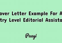 Cover Letter Example For An Entry Level Editorial Assistant, Paayi