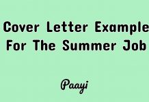 Cover Letter Example For The Summer Job, Paayi