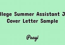 College Summer Assistant Job Cover Letter Sample, Paayi