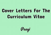 Cover Letters For The Curriculum Vitae, Paayi