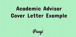 Academic Advisor Cover Letter Example, Paayi